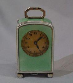 Guilloche enamel and silver sub-miniature carriage clock. - Gavin Douglas Antiques