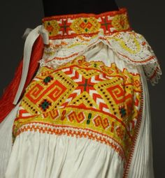 Hello all, Today I will talk about one of the most colorfully embroidered costumes of Slovakia, That of the village of Čičmany and v. Folk Embroidery, Embroidery Patterns, Folk Costume, Costumes, Embroidery For Beginners, Ethnic Fashion, Bratislava, Traditional Dresses, Pleated Skirt