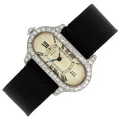 Ladys Platinum, Gold and Diamond Wristwatch, Cartier, France for Sale at Auction on Mon, - - Important Jewelry Art Deco Earrings, Art Deco Jewelry, High Jewelry, Edwardian Jewelry, Antique Jewelry, Vintage Jewelry, Antique Watches, Vintage Watches, Cartier Jewelry
