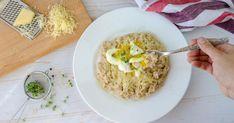 Ranné potešenie na slano spomaly sa uvoľňujúcou energiou zvločiek abielkovinami zvajíčka. Risotto, Grains, Rice, Eggs, Breakfast, Ethnic Recipes, Petra, Food, Morning Coffee