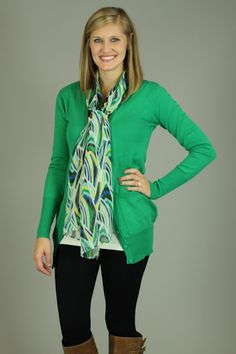 BASIC BOYFRIEND CARDIGAN, GREEN...Everyone needs a cardigan like this!!! From the color to the fit, this is a piece you NEED in your closet. Just throw this on over almost anything for a casual outfit. The pockets on the front add the perfect trendy detail. Wear this buttoned up for a preppy look, or leave it open for more of a relaxed look:)