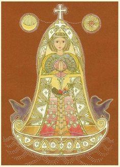 (kép: Kolozsvári Donkó Rebeka: Gyümölcsoltó BoldogAsszony) Folk Art, Disney Characters, Goddess, Mandala, Kami, Art, Aurora Sleeping Beauty, Folk, Zelda Characters