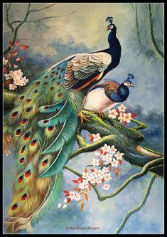Peacock Wall Art, Peacock Painting, Fabric Painting, Cross Stitch Bird, Counted Cross Stitch Patterns, Blue Butterfly Wallpaper, Flower Landscape, Diy Art, Canvas Wall Art