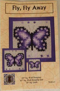 Pattern - Fly, Fly Away -  Beautiful Butterfly,Three,Sizes using the Primitive Pinwheels, the Itty Bitty Twister, and the Lil' Twister Tools