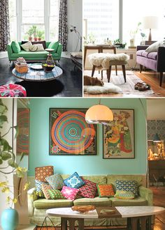 Lower Image: I also have a pistachio-colored sofa, a Harvey Probber cocktail table, and a collection of Bjorn Wiinblad prints. I wonder why the owner of the room on the bottom and I don't already know each other.