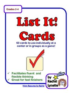 List It! Task Cards: 60 fun challenges for individual or groups. $