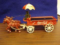 J Vintage Coca Cola Cast Iron Horse Drawn Wagon Missing The Crates Bottles   eBay