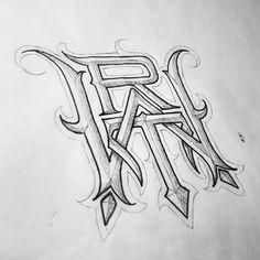 """WRT"" #monogram  61/365 #catrinvaladez365   #urbanwear #wear #brand #clothing #customdesign #type #typography #logotype #logo #latenight #lettering #Gangster #handlettering #blackletter #black #tattoowear #tattoo #typegang #type #typespire #typeverything #handtype #handmadefont #MCHC"