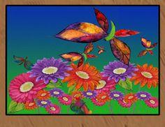 Butterflies and daisies floor mat art area rug indoor-outdoor area rug,  Floor Mat. Available in 4 sizes