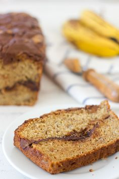 Peanut Butter and Nutella Swirled Banana Bread from Confessions of a Bright-Eyed Baker