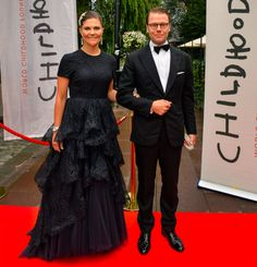 Crown Princess Victoria of Sweden and Prince Daniel attend a dinner at Berns, Stockhold to mark the 15th anniversary of World Childhood Foundation on September 8, 2014 #h&m