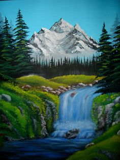 ORIGINAL Acrylic Painting Bob Ross style