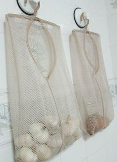 mesh bags for hanging fruits and veggies that need air circulation all around them to keep them good a lot longer.