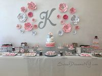 Pink, White and Silver Dessert Table – Sweet Dreams by Lori Baker 17th Birthday Gifts, Sweet 16 Birthday, Mom Birthday, Birthday Parties, Birthday Photo Banner, Teen Party Games, Diamond Party, Sweet 16 Gifts, Sweet 16 Parties