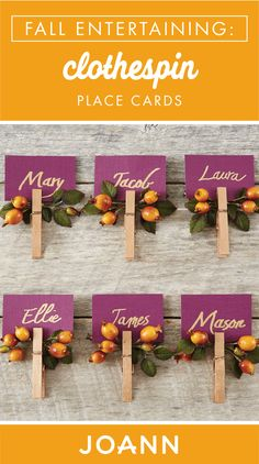 Go the extra mile this Thanksgiving and create these Clothespin Place Cards for every family member. Featuring beautiful fall colors, this DIY craft from JOANN is also perfect for Friendsgiving celebrations! Thanksgiving Place Cards, Thanksgiving Parties, Thanksgiving Crafts, Thanksgiving Decorations, Fall Crafts, Holiday Crafts, Holiday Fun, Christmas Decorations, Diy Crafts