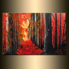 """Original LANDSCAPE PAINTING Autumn Trees Pathway Autumn Day Gallery Fine Art By Henry Parsinia Ready To Hang 36"""""""
