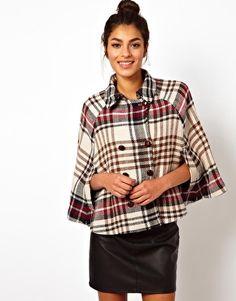 Image 1 - Love Moschino - Cape en laine à carreaux