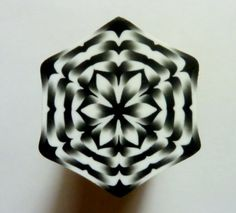 LARGE Black and White Hexagon Polymer Clay Cane by ClaybyKerm