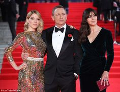 'Bond' ambition:Léa Seydoux and Monica Bellucci sparkle on the red carpet at the premiere...