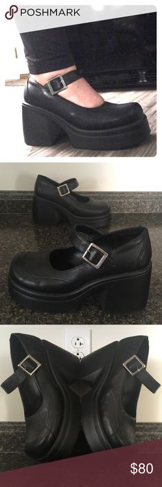 SKETCHERS 90s Vintage Chunky Platform Mary Janes Excellent Preowned Condition with light wear on the Platforms. Women's Size 8.5 ❤️ Fits Size 9*** best; listing reflects the fit.  Tags: Dolls Kill, Tripp Sketchers Shoes Platforms