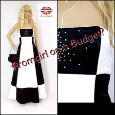 """PROM DRESS FOR LESS.BLACK WHITE RHINESTONES Don't spend thousands of dollars on your prom dress.Save this money and go to France or buy your very first Louis Vuitton.This is a very beautiful black/white panel silky dress with rhinestones.Long back zipper, strapless,supported top part (no need to wear bra).Two layers of fabric underneath so it stays in circle shape.Label: 7. Measurements: 51"""". Pit to pit 16.5"""".Fits cup B (chest all around 33"""") waist: 14.5"""" (side to side).More like 6 (selling…"""