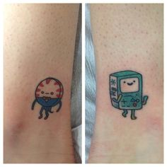 Peppermint Butlet And Bmo Adventure Time Ankle Tattoos- BFF tattoos