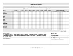 Free Printable Attendance Record Pdf From VertexCom