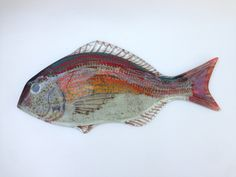 Red Seabream Fish Fused Glass Wall Hanging by CamdalGlassArt on Etsy