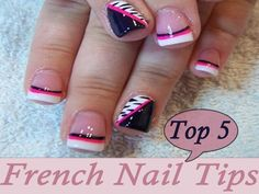 White French Nail Tips with Pink and Black Border  | See more nail designs at http://www.nailsss.com/nail-styles-2014/