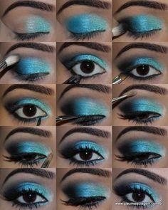 maquiagem sombra turquesa