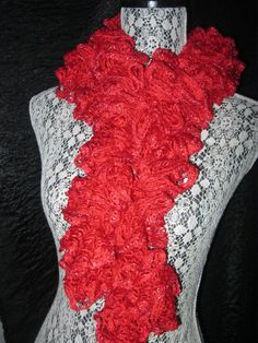 Single Ruffle Metallic Edge Scarf Crocheted Sashay by KismaeGrimes, $15.00