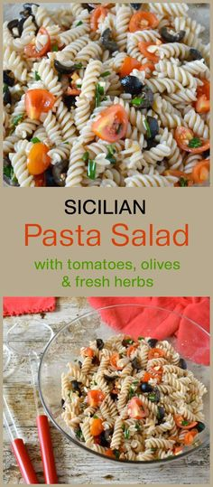 Sicilian Pasta Salad with Tomatoes, Olives & Fresh Herbs. It's a wonderful summer dish best made with juicy ripe tomatoes. It's a great dish to bring along to a pot luck as it's both vegan and gluten-free. Veggie Recipes Healthy, Yummy Pasta Recipes, Pasta Salad Recipes, Vegan Recipes, Recipe Pasta, Noodle Recipes, Delicious Recipes, Free Recipes, Easy Recipes