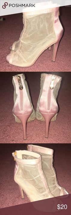 c6be53075fb Fashion Nova size 7.5 pink mesh bootie heels. I purchased these from fashion  nova.