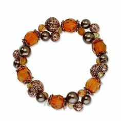 Copper-tone Lt. Colorado and Brown Acrylic Beads Stretch Bracelet - http://www.wonderfulworldofjewelry.com/jewelry/bracelets/stretch/coppertone-lt-colorado-and-brown-acrylic-beads-stretch-bracelet-com/ - Your First Choice for Jewelry and Jewellery Accessories