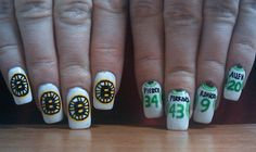 "Boston sports nails! The only problem is that my nails are waaaaay skinnier and it made it tough to put the spoked ""B"" on and I only put it on my ring finger."