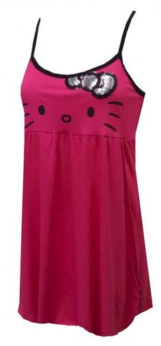 Hello Kitty Bring the Bling Babydoll Nightgown, $22 Who says bedtime cant have some bling? These adorable babydoll nightgowns for women feature the lovable Hello Kitty with a big, silver and black sequin bow. The overall length is 32, with spaghetti straps in a comfy 60% cotton, 40% polyester jersey blend. Machine washable in cold on gentle cycle. Junior cut.