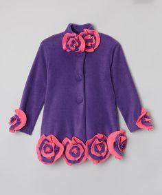 This Purple Floral Peacoat - Infant, Toddler & Girls by Little Miss Fashion is perfect! #zulilyfinds