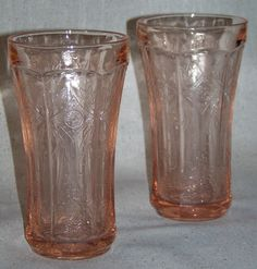 Recollections Pink Tumbler Glasses Reproduction Vintage Madrid Depression Era Glasses. $30.00, via Etsy.