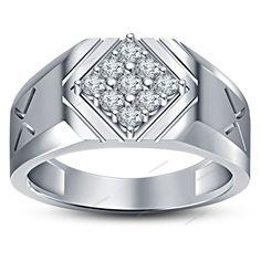 14Kt White Gold FN Nine Stone White Sim Diamond Men's Wedding Ring In 925 Silver #aonedesigns #9StoneMensWeddingRing #WeddingEngagementpartyGift