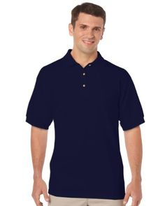 Gildan Adult DryBlend Jersey Short Sleeve Polo Shirt (XL) (Navy)