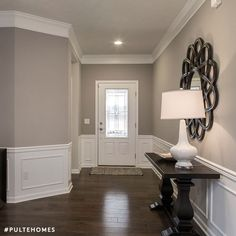 Wall color is Sherwin Williams Mindful Gray. crown molding and wainscott Wall color is Sherwin Williams Mindful Gray. crown molding and wainscott Living Room Color, Interior, Living Room Paint, Home, Popular Interior Paint Colors, Popular Interiors, Home Remodeling, Room Remodeling, House Interior