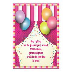 Circus Tent Carnival Girls Birthday Party Announcement