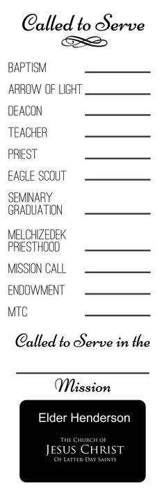 Free printable Called to Serve poster to frame and fill in as boys advance. Great visual for preparing to serve a mission.  .