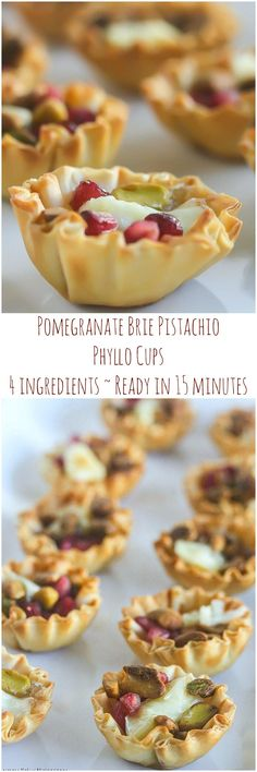 Four Ingredient Pomegranate Brie Pistachio Phyllo Cups are perfect for any party and are ready in 15 minutes!
