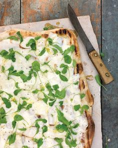Store-bought pizza dough is a great shortcut for making this easy, sophisticated grilled pizza. Grill the pizza until the fontina cheese melts, then scatter baby arugula over the top and drizzle with olive oil just before serving. Pizza Recipes, Grilling Recipes, Vegetarian Recipes, Vegetarian Pizza, Dinner Recipes, Cheese Recipes, Potato Recipes, Vegetable Recipes, Drink Recipes