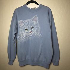 Adorable vintage blue cat sweater! Features a large picture - Depop Cat  Sweaters e00c501b0