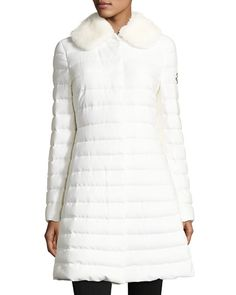 MONCLER Quilted Cashmere-Blend Puffer Coat W/Mink Fur Collar, White. #moncler #cloth #