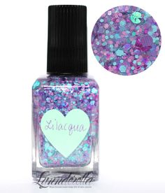 Lynnderella Limited Edition—Lilacqua has assorted aqua and lilac glitters in matte, neon, holographic and metallic finishes with a lavender microglitter overlay and iridescent accents. Mint- and lilac-shimmered clear base.