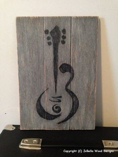 Guitar Distressed Wood Painting Pallet by JoBellaWoodDesigns