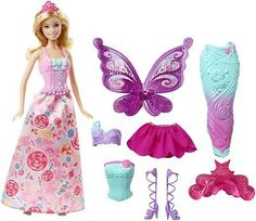 Barbie Doll Fairytale Dress Up Gift Set Princess Mermaid Fairy Girls Gift XMas
